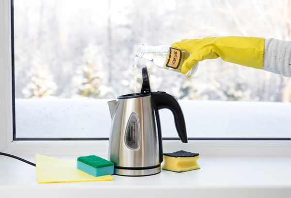 cleaning electric kettle with vinegar